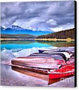 Canoes At Lake Patricia Canvas Print