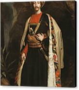 Captain Colin Mackenzie In His Afghan Canvas Print by James Sant