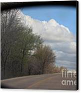Car Mirror Landscape With Road And Sky. Canvas Print