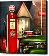 Car - Station - White Flash Gasoline Canvas Print by Mike Savad
