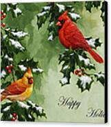 Cardinals Holiday Card - Version With Snow Canvas Print by Crista Forest