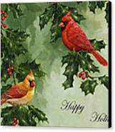 Cardinals Holiday Card - Version Without Snow Canvas Print