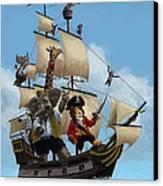 Cartoon Animal Pirate Ship Canvas Print