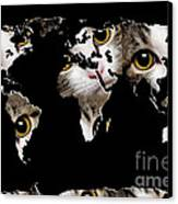 Cat Eyes World Map 2 Canvas Print by Andee Design