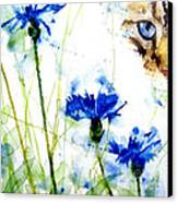 Cat In The Cornflowers Canvas Print