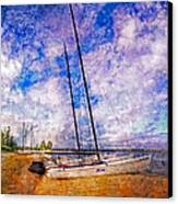 Catamarans At The Lake Canvas Print by Debra and Dave Vanderlaan