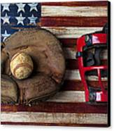 Catchers Glove On American Flag Canvas Print by Garry Gay