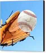 Catching A Baseball Canvas Print by Joe Belanger