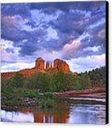 Cathedral Rock And Oak Creek At Red Canvas Print by Tim Fitzharris