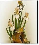 Cedar Waxwings And Iris Canvas Print