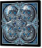 Celtic Hearts - Blue And Silver Canvas Print