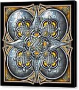 Celtic Hearts - Gold And Silver Canvas Print by Richard Barnes