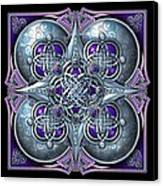 Celtic Hearts - Purple And Silver Canvas Print by Richard Barnes