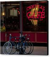 Central Cafe Bicycles Canvas Print