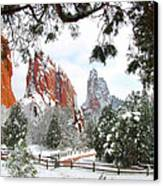 Central Garden Of The Gods After A Fresh Snowfall Canvas Print by John Hoffman