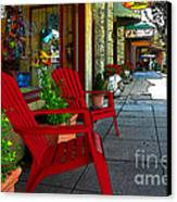 Chairs On A Sidewalk Canvas Print by James Eddy
