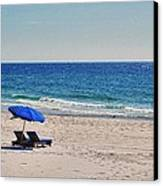 Chairs On The Beach With Umbrella Canvas Print