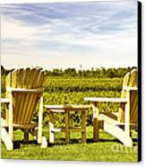 Chairs Overlooking Vineyard Canvas Print