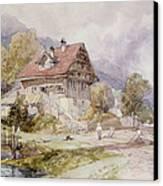 Chalet, Brunnen, Lake Lucerne Canvas Print