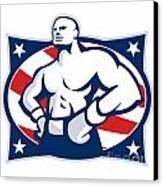 Champion American Boxer Akimbo Retro Canvas Print by Aloysius Patrimonio