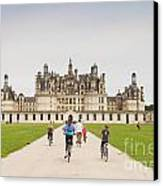 Chateau Chambord And Cyclists Canvas Print
