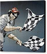 Checkered Flag Grunge Color Canvas Print by Frank Ramspott