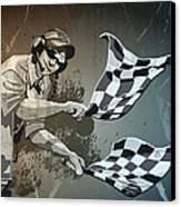 Checkered Flag Grunge Monochrome Canvas Print