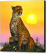 Cheetah And Cubs Canvas Print by MGL Studio - Chris Hiett