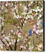 Cherry Blossoms And Blue Birds Canvas Print by Blenda Studio