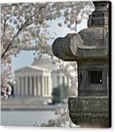 Cherry Blossoms With Jefferson Memorial - Washington Dc - 011323 Canvas Print by DC Photographer