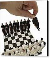 Chess Being Played With Little People Canvas Print