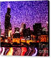 Chicago At Night Digital Art Canvas Print by Paul Velgos
