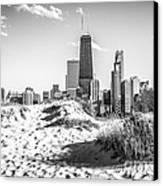 Chicago Beach And Skyline Black And White Photo Canvas Print