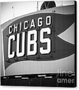 Chicago Cubs Wrigley Field Sign Black And White Picture Canvas Print by Paul Velgos
