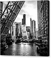 Chicago Kinzie Street Bridge Black And White Picture Canvas Print