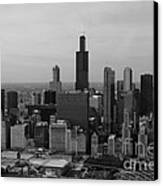 Chicago Looking West 01 Black And White Canvas Print