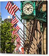 Chicago Macy's Clock And Chicago Theatre Sign Canvas Print