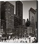 Chicago Park Skate Bw Canvas Print