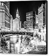 Chicago River Buildings At Night In Black And White Canvas Print
