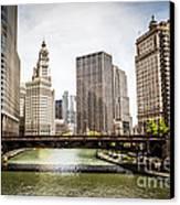 Chicago River Skyline At Wabash Avenue Bridge Canvas Print by Paul Velgos