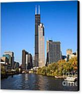 Chicago River With Willis-sears Tower Canvas Print