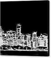 Chicago Skyline Fractal Black And White Canvas Print