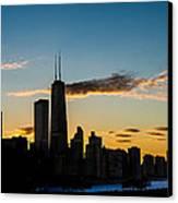 Chicago Skyline Silhouette Canvas Print by Steve Gadomski