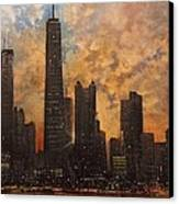 Chicago Skyline Silhouette Canvas Print by Tom Shropshire