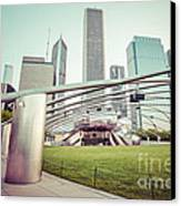Chicago Skyline With Pritzker Pavilion Vintage Picture Canvas Print