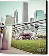 Chicago Skyline With Pritzker Pavilion Vintage Picture Canvas Print by Paul Velgos