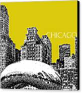 Chicago The Bean - Mustard Canvas Print by DB Artist