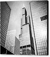 Chicago Willis-sears Tower In Black And White Canvas Print by Paul Velgos