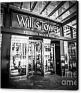 Chicago Willis-sears Tower Sign In Black And White Canvas Print by Paul Velgos