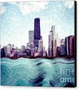 Chicago Windy City Digital Art Painting Canvas Print